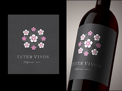 Korean Wine Label geometric flowers wine label