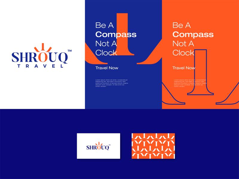 ShrouQ | Travel Agency typography illustration graphic design graphic flat concept clean brand blue minimal design icon branding logo