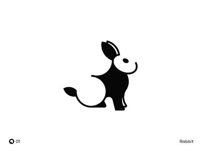 Day 01 | Rabbit black and white black daily flat negative space mark illustration minimal icon logo
