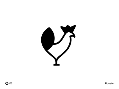 Day 02 | Rooster concept design black minimal bird rooster mark brand illustration icon flat