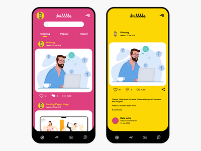 UI Dribbbbbbble - Pink, Yellow, Black beautiful vector colorful branding illustration adobe photoshop cc flat awesome design background ux uxdesign uidesign