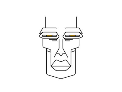 Old Soldier outline portrait head face characterdesign character illustration