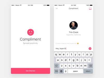 Compliment App smile get started app ios compliment