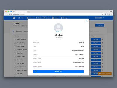 Create User Overlay ed tech front office dashboard panel admin user overlay create