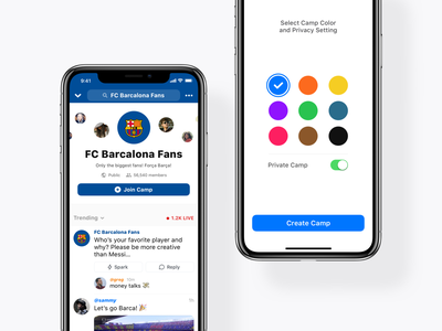 Camp Customization camp chat fans barcalona feed stream post color group room ux ui apple bonfire ios iphone app