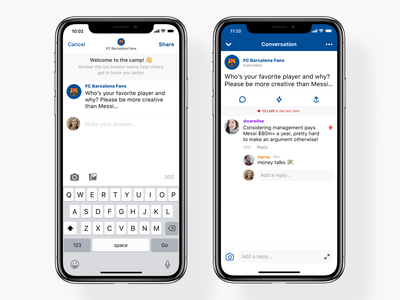 Bonfire Conversations + Icebreakers chat group room ui keyboard compose welcome message ios 12 app iphone apple ios bonfire comment reply thread post conversation icebreaker