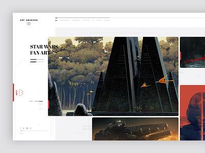 Star Wars - Art Awakens layout webdesign website grid tumblr button ui font star wars the force awakens