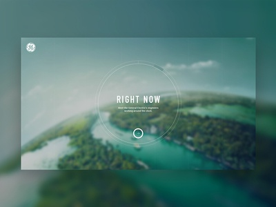 Right Now - Home Page interactive full screen grid layout buttons ui clock immersive experience general electric