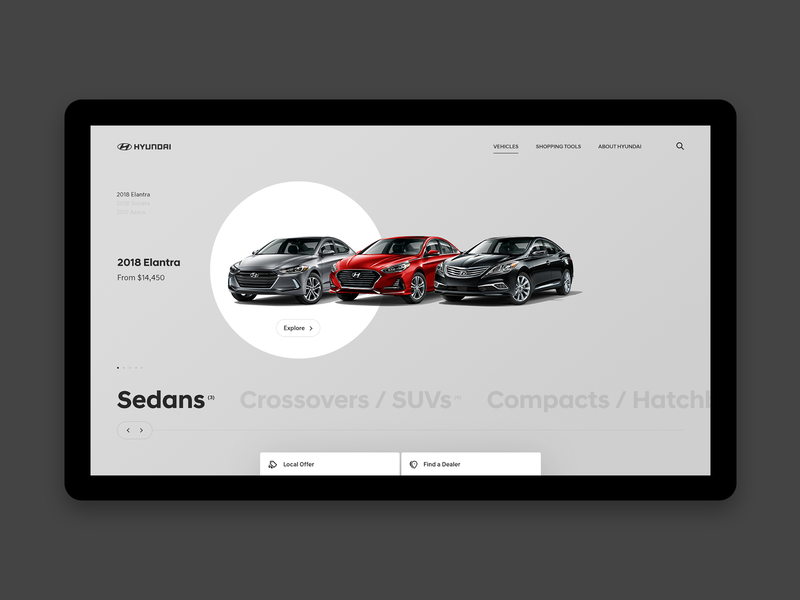 Hyundai Desktop - Vehicles Page drag interactive interaction webdesign buttons ui type grid website layout