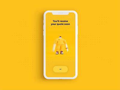 Insurance App - Feedback screen illustration ui interface 3d animation character 3d mobile app design mobile app mobile