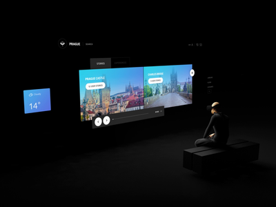 360 Stories - Home City virtual reality layout interaction animation type grid ui 3d