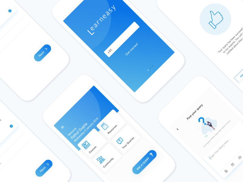 Learneasy : Online Learning App Concept blue theme ux trend minimal app clean app icon design branding vector typography daily ui challenge ui  ux student education learning