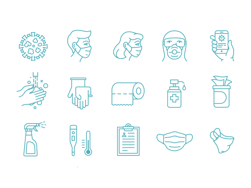 COVID-19 icons medicine protect respirator antiseptic disinfection coronavirus hands illness pandemic mask virus covid19 icons outline flatgraphic illustration vector flat
