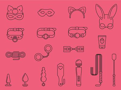 Bdsm icon set rabbitmask mask rope whip handcuffs sexshop kink bdsm design icon outline flatgraphic illustration vector flat