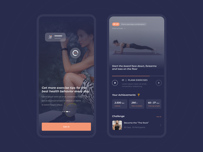 Exercise Guide App cool running muscle art designer gym blue sports exercise fitness web ui design design agency uiux clean iphone ux app ui