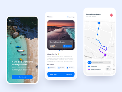 Trilo Trip freelance designer design web travel agency traveling trip vacation travel android ui design agency clean uiux ux iphone app ui