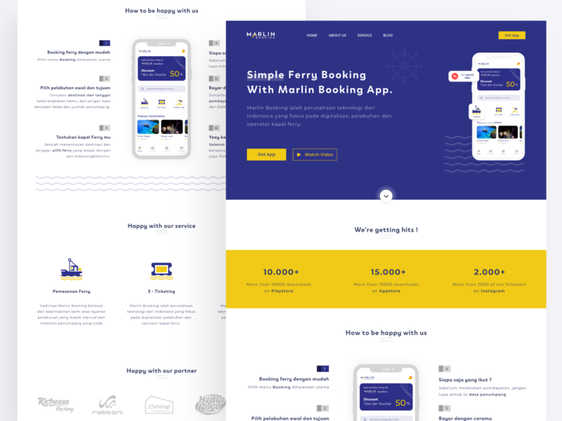 Marlin Booking redesign landing page