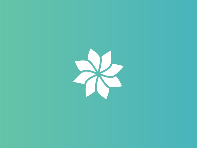 New identity gradient data tech geometric flower brand identity mark logo