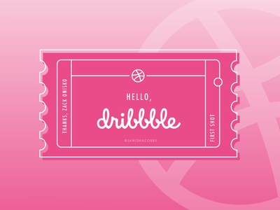 Hello, Dribbble! typography icon design ticket dribbble first shot shot debut