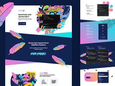 Design and development for Sweet JS. colorful ux webflow website development logo branding website design website
