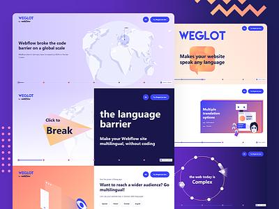 Webdesign and Development for Weglot. lottieflow illustration colorful webflow website development logo branding design website design website