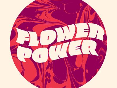 Flower Power Logo lettering fluo 60s psychedelic logo