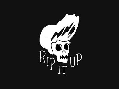RIP IT UP skate punk skull t shirt rockabilly lettering surf illustration