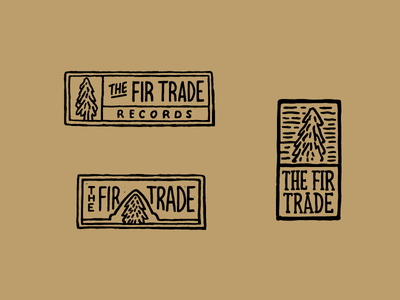 The Fir Trade tag label record tree lettering logo