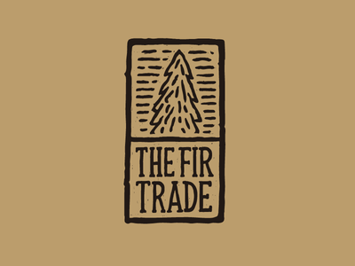 Fir Trade logo label stamp logo vintage wood record album vinyl folk nature lettering illustration