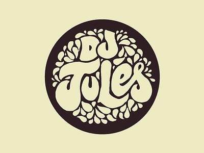 Dj Jules logo rock 60s hippie funky lettering