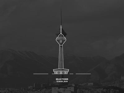 Milad Tower vector tower tehran symbol line iran illustration icon city building milad