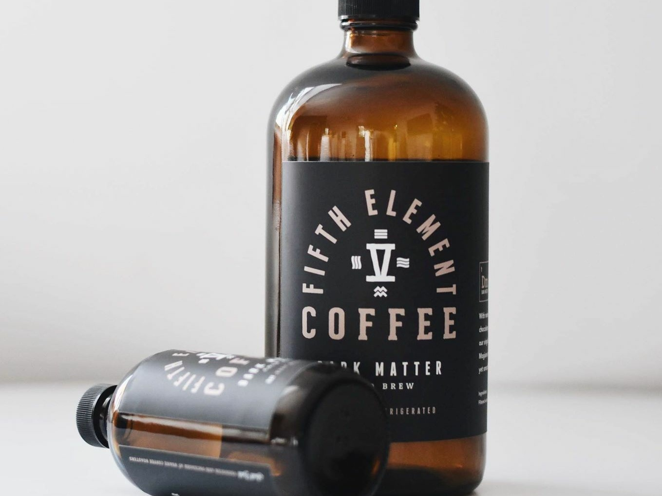 Fifth Element Coffee Bottle Labels minimal clean coffee branding coffee shop logo product photography packaging label design branding