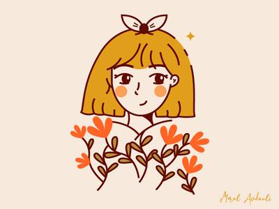 Flower Girl blonde woman logo icon lineart line art line girl flower
