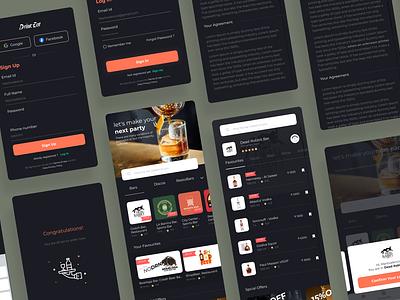 DrinkEat app 🍾 illustration clean minimal ui-design-inspiration uidesign ux app drink food app food design ui