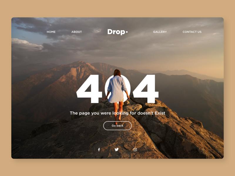 404 Error page. followforfollow follow me follow logo character typography uxdesign webdesign web drop illustration appdesign ux ui uidesign app ui-design-inspiration design