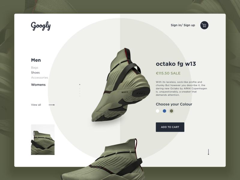 Shoe Website dribbble web ux branding agency branding design ui add to card ui-design-inspiration
