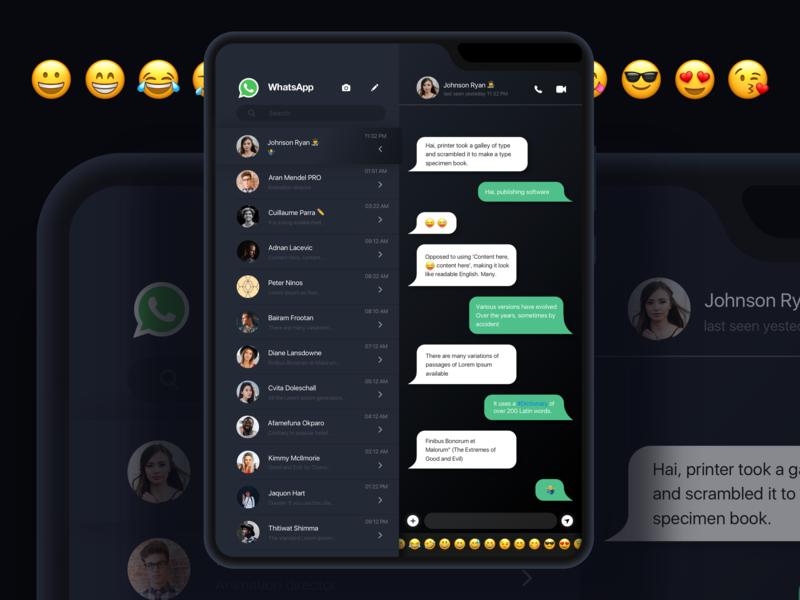 WhatsApp Dark mode 2020 appdesign emoji app ui-design-inspiration chat bubble app design chat mobile ui samsung fold clean minimal uiux uidesign dark ui dark dark mode whatsapp