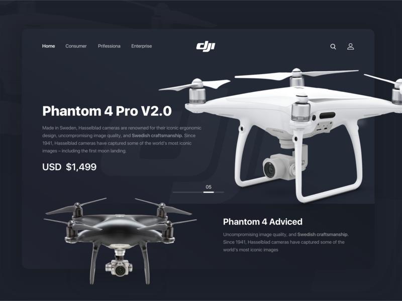 Dji. Phantom 4 Pro V2.0 dji concept interface minimal clean uxdesign webdesign design web ux ui drone