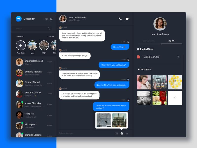 Messenger Dark Mode. 2020 prototype sketch appdesign design clean ui clean minimal dark web app uxdesign webdesign uidesign ux ui app web message messenger