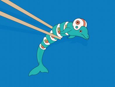 Miami Sushi miami dolphins buffalo bills buffalo football design illustrator fun illustration vector