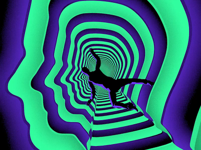 Land of Confusion clean animation hopeless lost terror falling fall anxiety fear confusion confused loop gif 3d sam gilmore psychedelic trippy surreal green purple