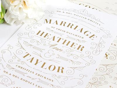 Erickson Wedding Invitation script flowers ornament gold invitation wedding
