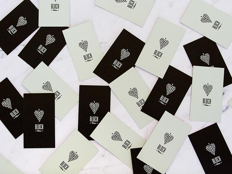 Bloch Wine Branding modern business cards branding logo grapes heart black mint wine