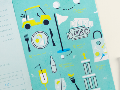 Gillis Golf Invitation invitation vector texture blue yellow golf illustration