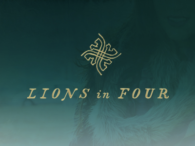 Lions In Four Fashion Brand branding design identity logo scarfs clothing teal gold style india lion fashion