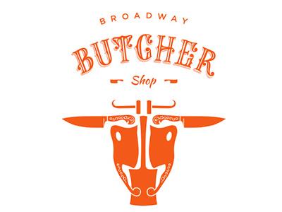 Broadway Butcher Shop Logo butchery orange knife trade typography lettering cattle identity branding logo shop butcher