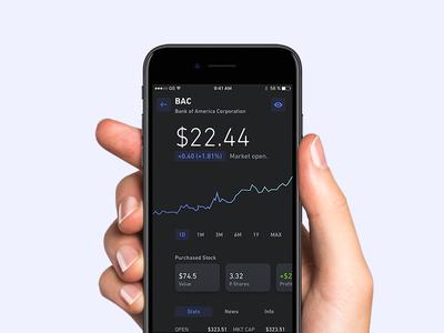 Single Stock Screen - Dark Version app application iphone ios ui binary fintech trading stock
