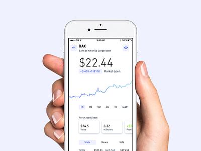 Single Stock Screen - Light Version app application iphone ios ui binary fintech trading stock