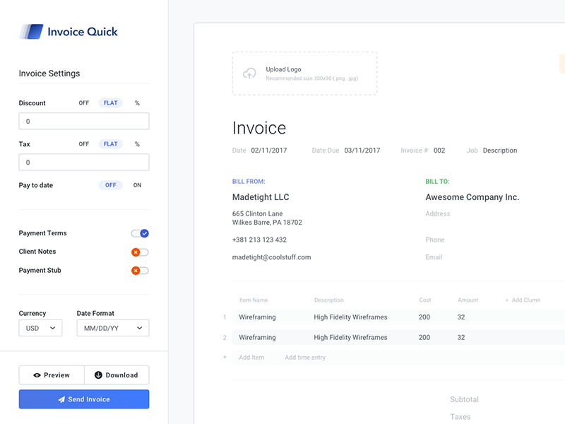 Sidebar Invoice By Vladimir Babic For Made Tight On Dribbble