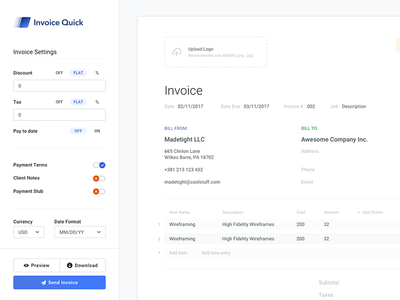 Sidebar + Invoice accountant guide style styleguide invoice